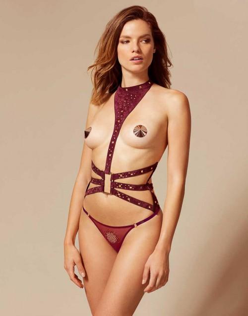 harness, burgundy lingerie, Agent Provocateur